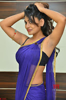Actress Priya in Blue Saree and Sleevelss Choli at Javed Habib Salon launch ~  Exclusive Galleries 030.jpg