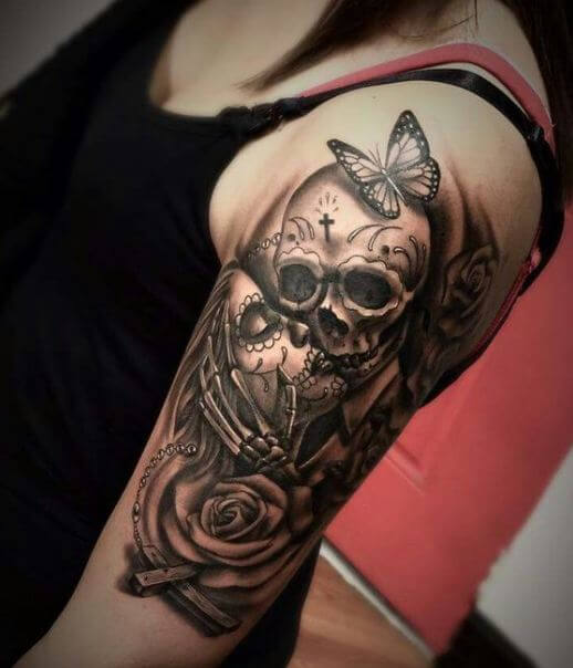 145 badass skull tattoos for men and women 2018 page for Girls with badass tattoos