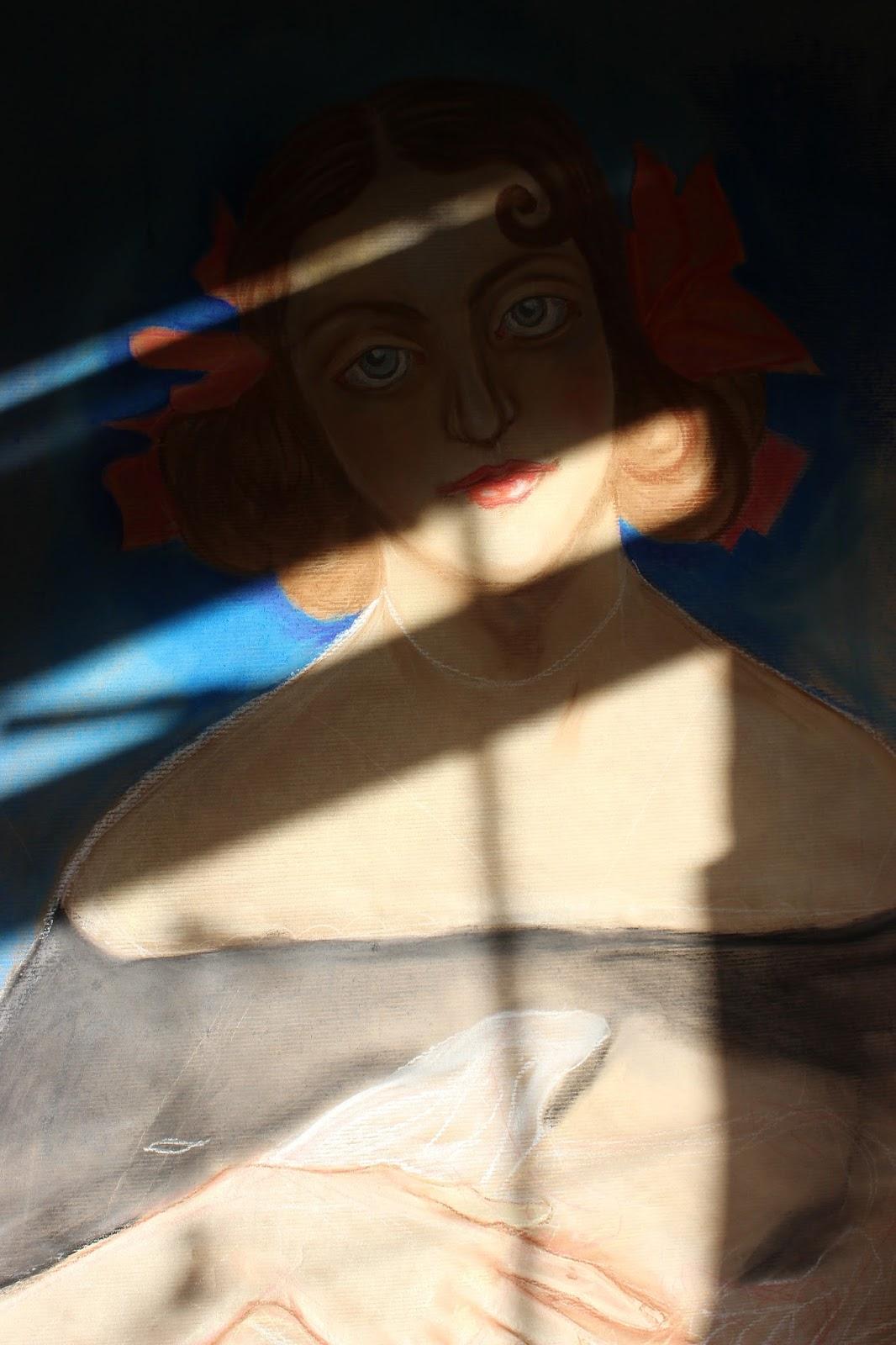 Pastel Brown Paper Sketch Woman Light Shadow