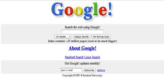 Historical Facts About Google First Homepage