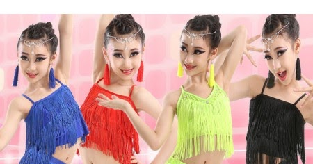 Girls kids children child royal blue neon green purple black red fringe  tassels competition latin salsa cha cha dance top and pants costumes dress  set ... 52926ae8ac4e