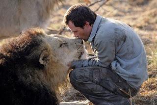 Hombre besando a un León