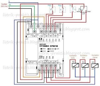 Wiring PLC pengasutan motor star-delta man-auto