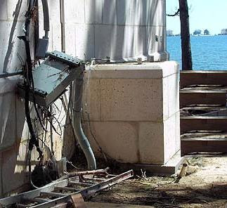 Electrical service terminal boxes were ripped from the wall in the high winds