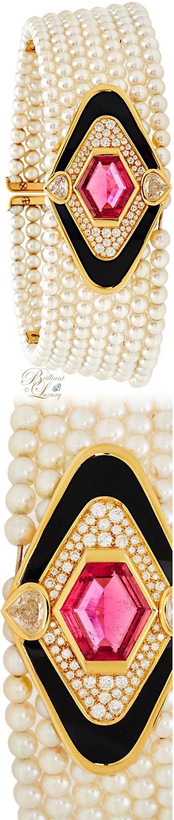 Brilliant Luxury♦Vintage Marina B Pearl And Multi Stone Collar #necklace