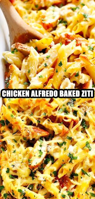 DELICIOUS CHICKEN ALFREDO BAKED ZITI