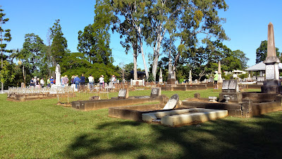 Lawnton Cemetery gravestones and gum trees