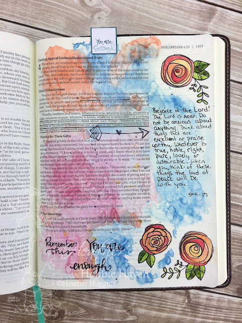 Heather's Hobbie Haven - Bible Journaling - You are Enough - Philippians 4:6; 8-9