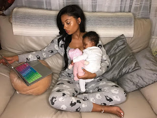 Photos of Lola Rae and daughter skye which she shares with Tekno