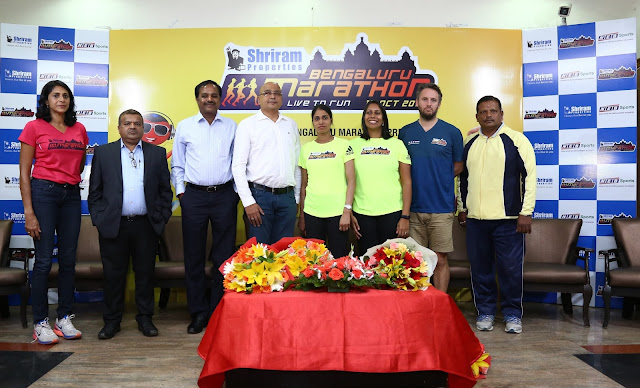 (L to R) Ms. Reeth Abraham, Brand Ambassador - SPBM, Mr. Shridhar Kulkarni, COO Shriram Properties, Mr. M Murali, MD Shriram Properties, Mr. Nagaraj Adiga, Race Director, Ms. Sudha Singh, Indian Olympic Runner, Ms. Nisha Millet, Indian Olympic Swimmer, Mr. Tom Naylor, Technical Race Director, Brighton Marathon, UK  and Mr. M. Mahadeva, Para-athlete and Arjuna awardee.