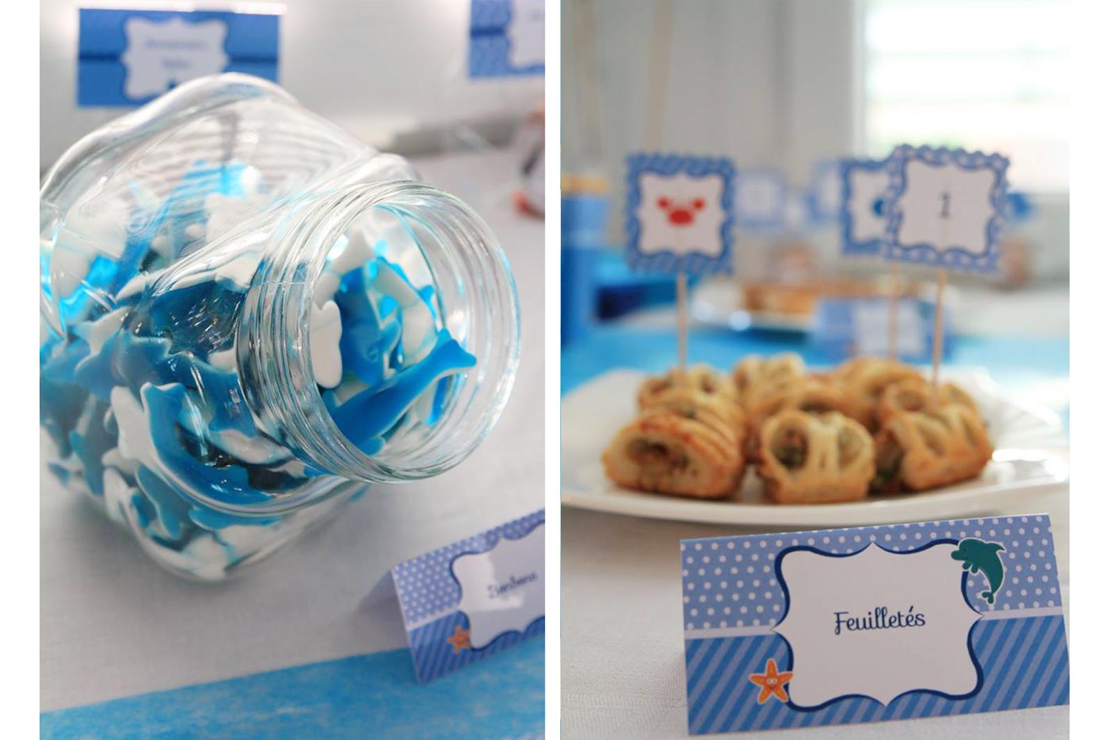 bonbons en forme de requin bleus theme mer
