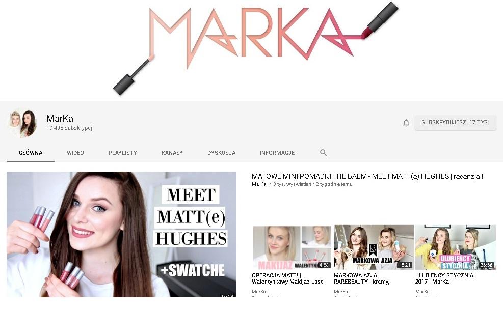 MarKa - kanał urodowy na Youtube