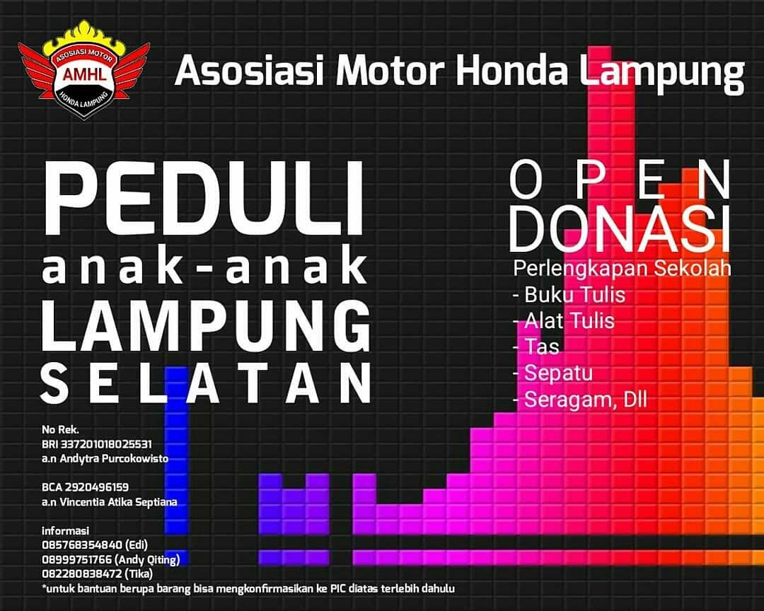 Asosiasi Motor Honda Lampung Kumpulkan Bantuan Untuk Anak-Anak Korban Bencana Di Lampung Selatan