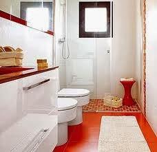 baño en blanco y rojo