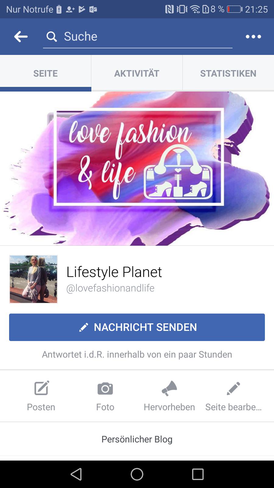 Facebook Seite Mode und Lifestyle