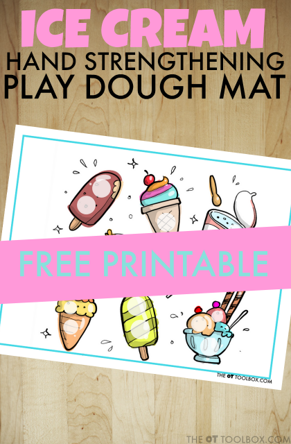 Ice Cream Play Dough Mat Hand Strengthening