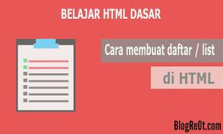 CARA MEMBUAT DAFTAR LIST HTML