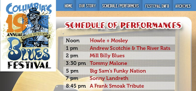 Columbia Blues Festival 19 line up and link