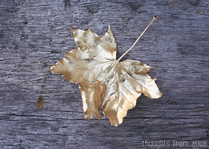Pretty leaf spray painted gold