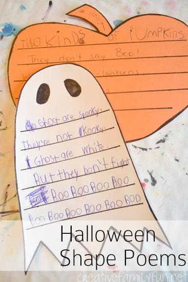 creative family fun halloween shape poems