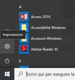 come accedere alle impostazioni di Windows 10