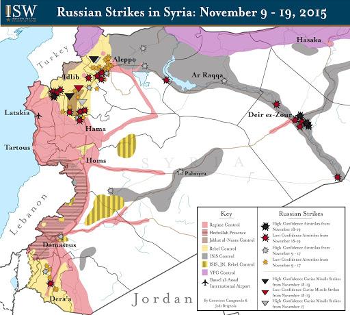 Russian Strikes in Syria: November 9 - 19, 2015