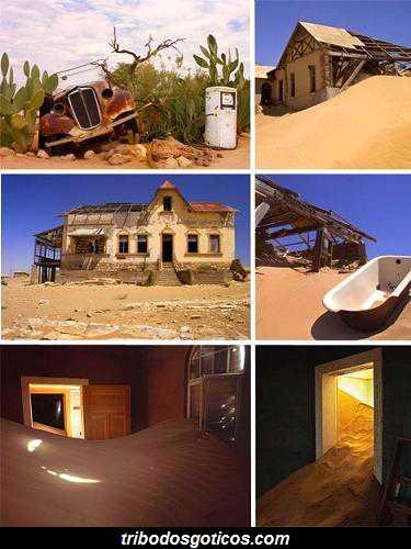 cidade afundada na areia abandonada fantasma