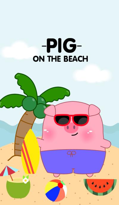 Cute Pig on the beach