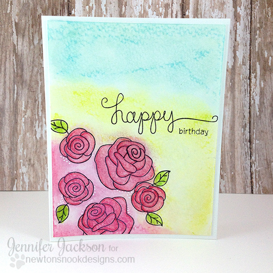 Birthday Roses Card by Jennifer Jackson | Love Grows Stamp set by Newton's Nook Designs #newtonsnook