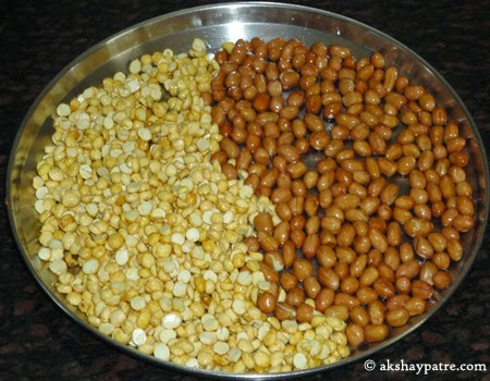 fried peanuts and putanis for poha chiwda