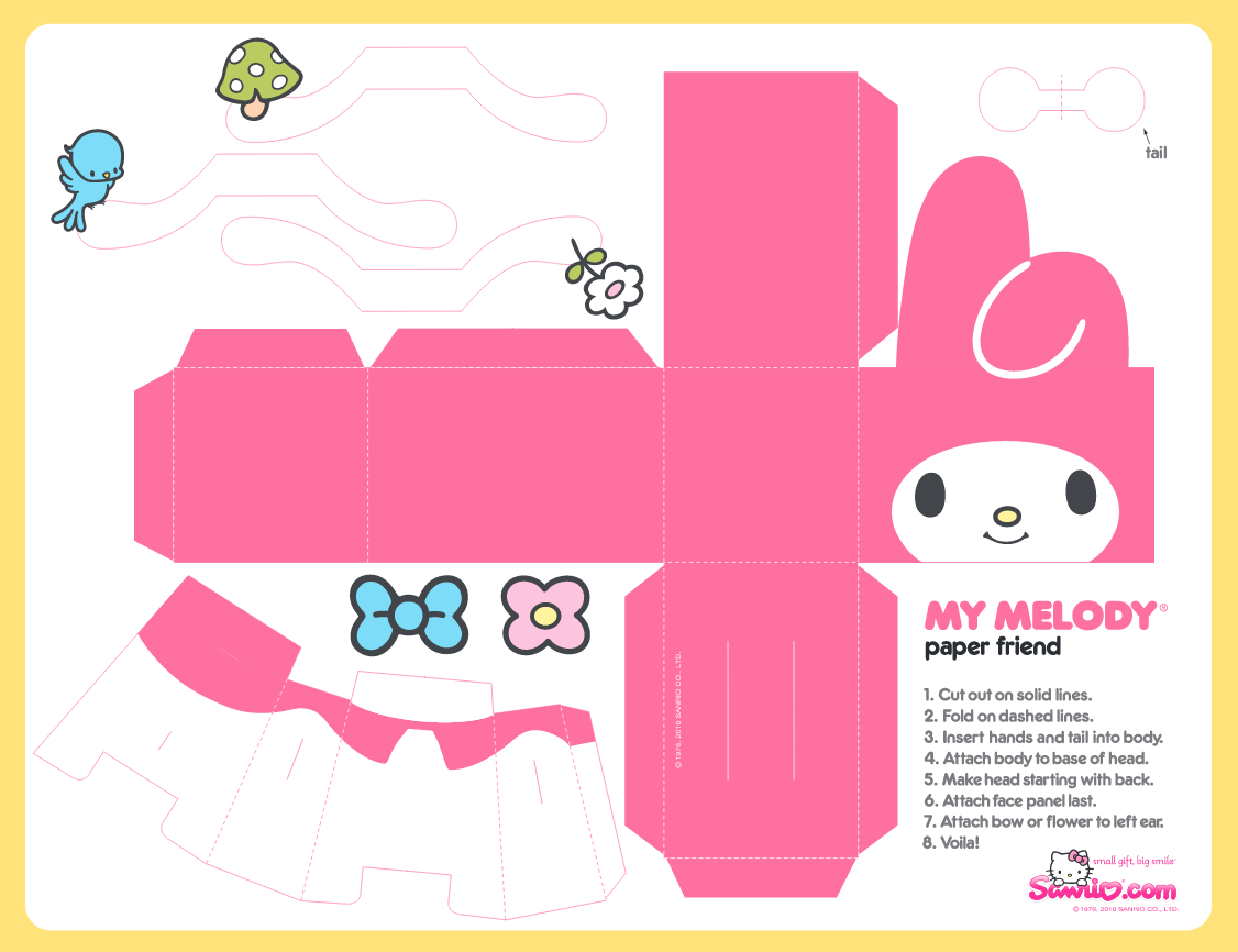 hello kitty cut out template - my melody free printable box oh my fiesta in english