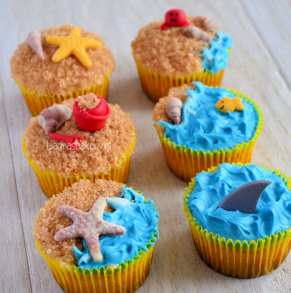 zandkasteel taart zelf maken Strand cupcakes   Laura's Bakery zandkasteel taart zelf maken