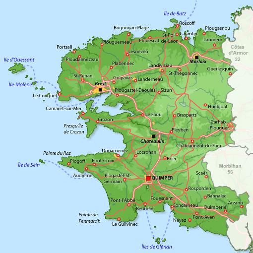 Mapa de Finisterre.