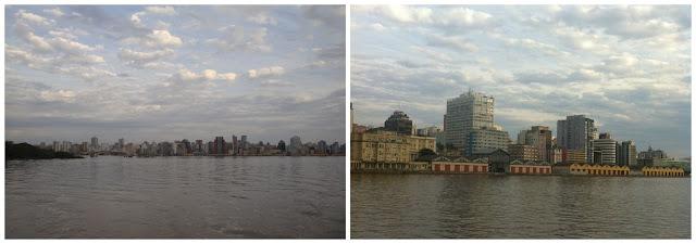 pôr do sol no Guaiba em Porto Alegre - passeio de barco