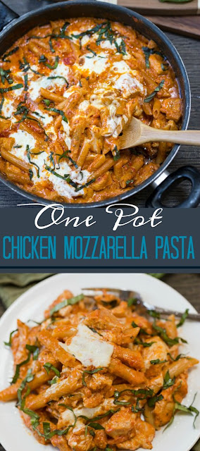 One Pot Chícken Mozzarella Pasta
