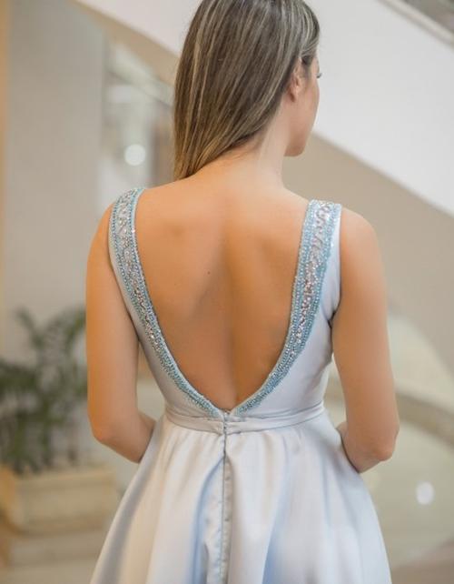 vestido de festa azul sereniy