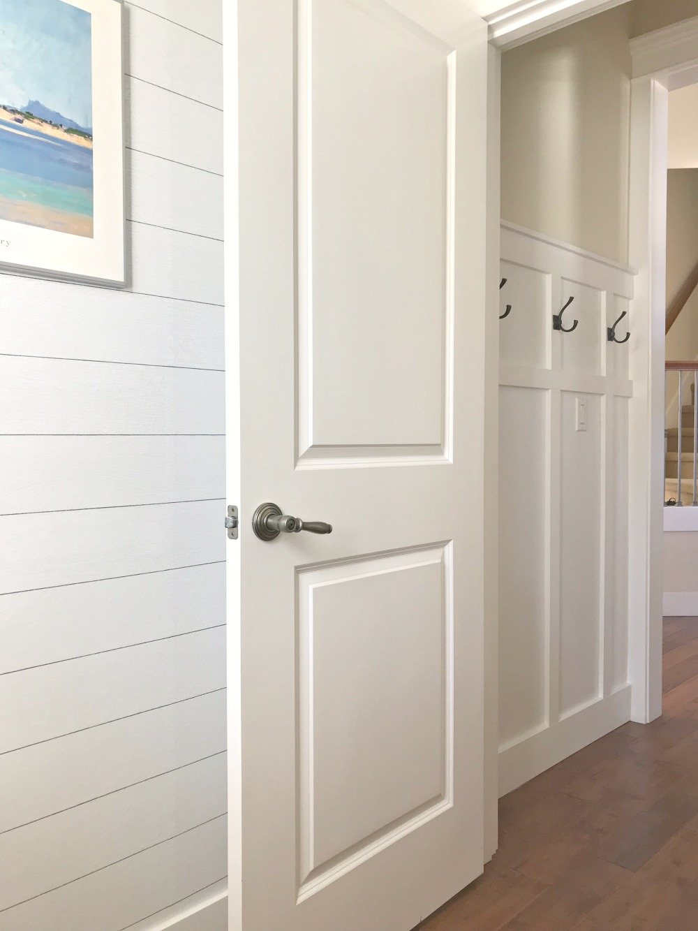 shiplap in a bathroom powder room