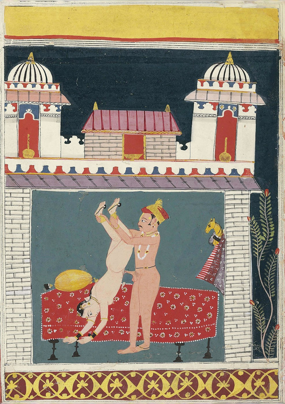 Couple in a Lovemaking Embrace - Miniature Painting, Malwa, Circa 1680-90