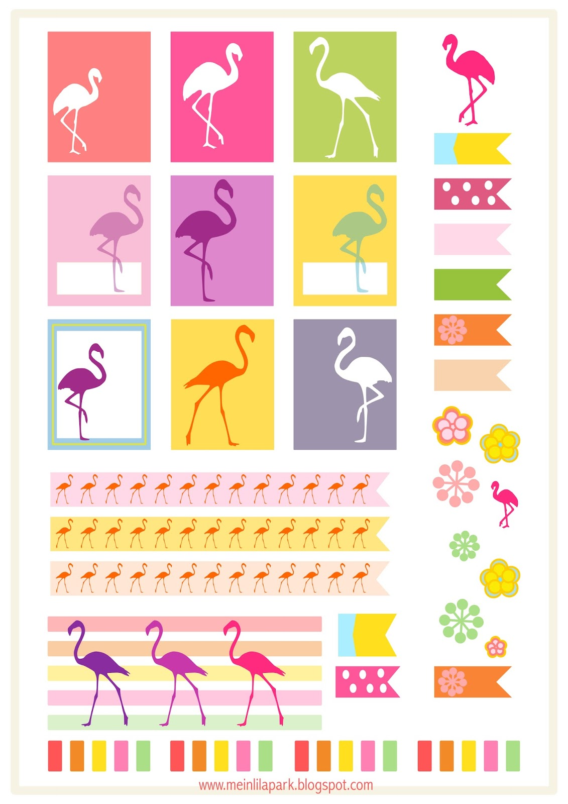 flamingo planner stickers