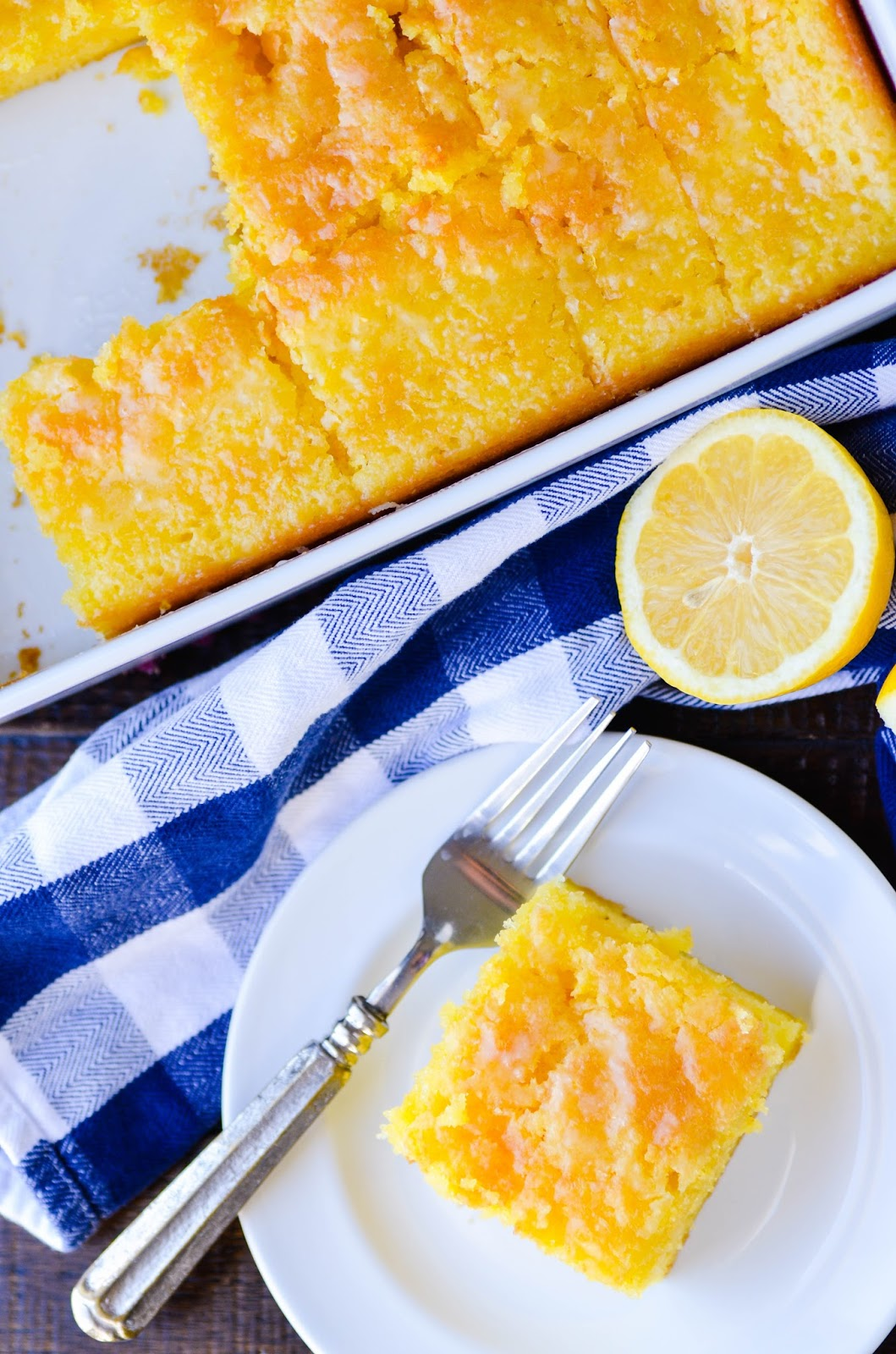 This lemon cake is incredibly simple, but don't let that fool you! It's supremely moist and bursting with springtime lemon flavor.