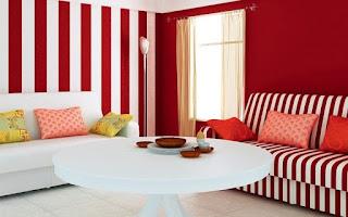 sala paredes rojas