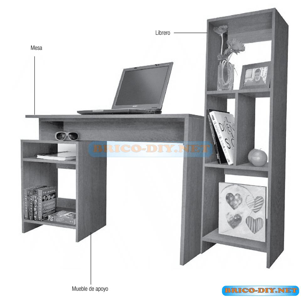 Plano como hacer un mueble escritorio de melamina y for Medidas para muebles