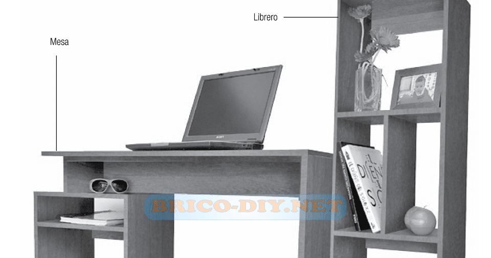 Plano como hacer un mueble escritorio de melamina y for Mueble bajo escritorio