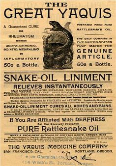 The Great Yaquis snake oil liniment