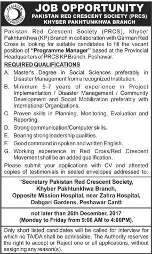Jobs In Pakistan Red Crescent Society Peshawar cantt Dec 2017