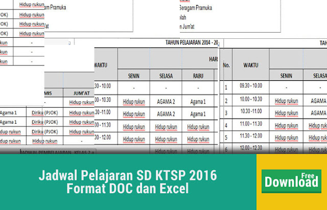 Jadwal Pelajaran SD KTSP 2016