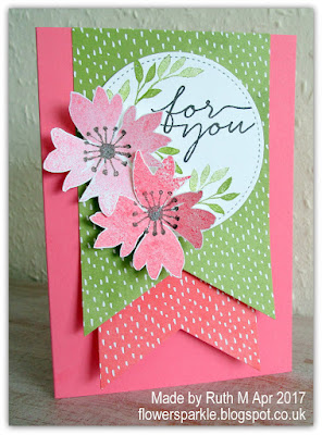 Flower Sparkle Flag Banners Blooms Wishes For You Card