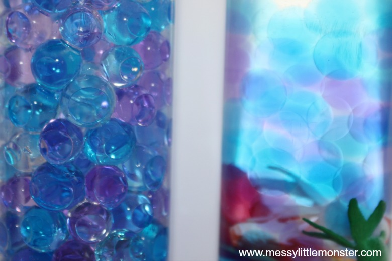 ocean in a bottle water bead sensory bottles