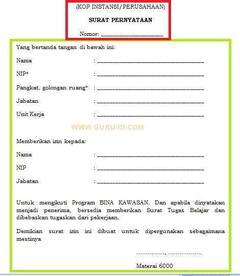 gambar surat izin atasn peserta bina kawasan 2019
