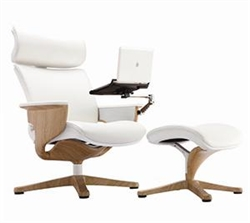 White Leather Executive Recliner with Tablet Arm
